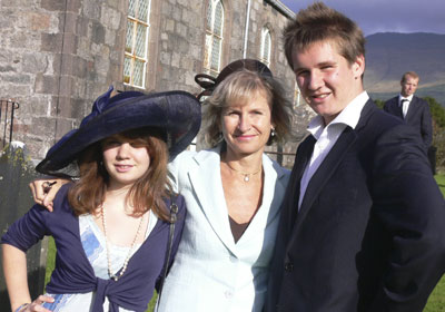 With Louise and Tommy at a wedding in Scotland