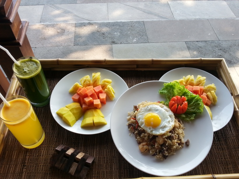 Breakfast - nasi goreng for Ross and fruit for me