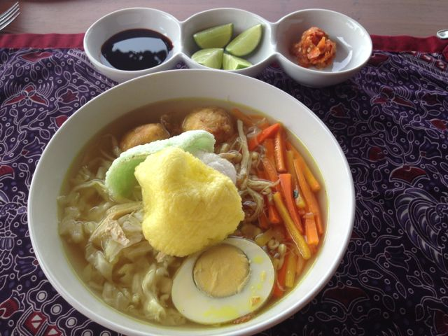 Soto for lunch, with chilli sauce