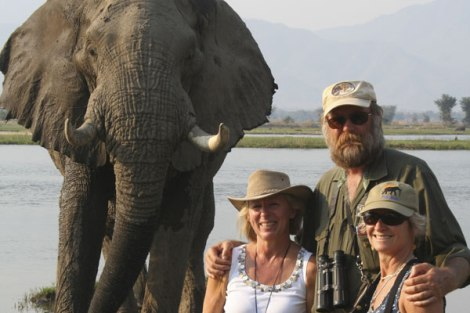 With good friends (L to R) 'Big Vic', the Doc and our beloved guide Stretch in Zimbabwe