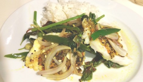 Last night's supper - Bangladeshi steamed fish an a bed of spinach: check the recipes on the site