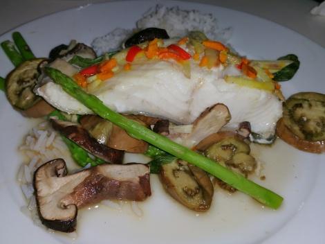 Steamed fish with shitake mushrooms